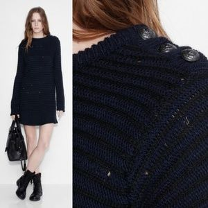 Zadig & Voltaire Distressed Wool Sweater Dress M